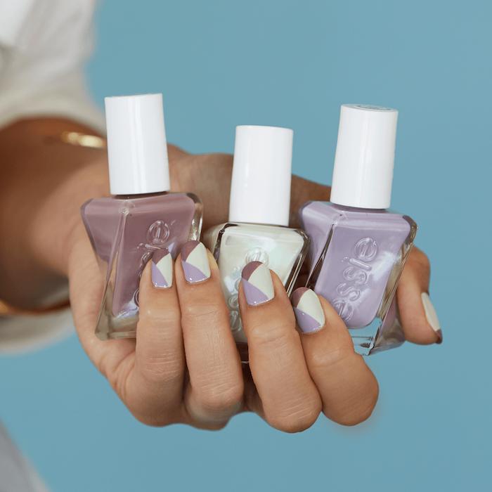 Deco ongle facile, deco ongle gel brillante, pose d'ongle en gel, image manucure professionnel, ongle design géométrique au brune, violet claire et taupe