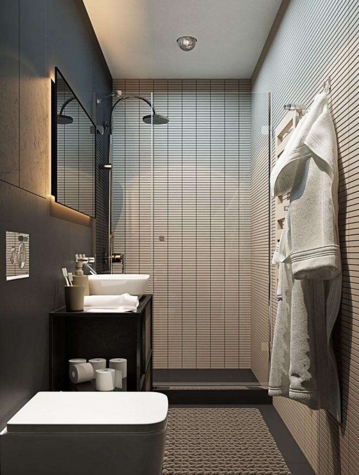 déco salle de bain aux murs foncés gris anthracite avec plafond blanc, meuble sous vasque noir avec rangement ouvert