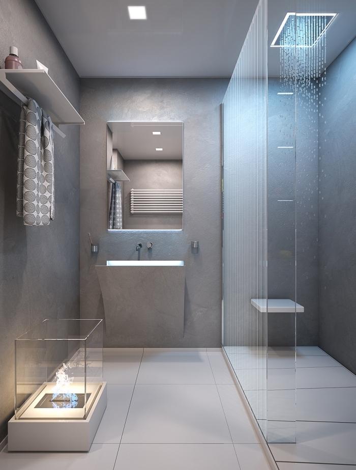 modèle salle de bain gris et blanc avec cabine de douche, exemple meuble rangement mural avec étagère, salle de bain grise