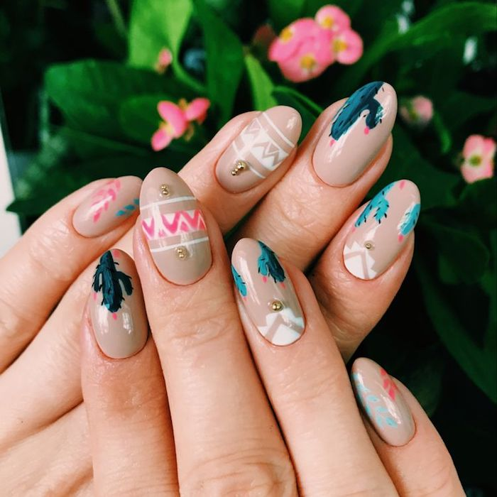 Choette idée modele ongle nail art, deco ongle gel, photo ongle art, manucure photo belle, cactus design