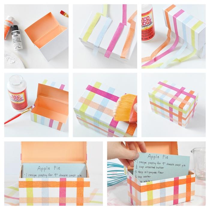 tuto pour fabriquer une boîte à recettes dans une boîte simple décorée de bandes de papier de soie colorées, diverses recettes à l intérieur