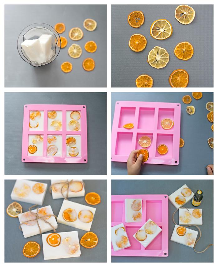 exemple de cadeau fête des mères a faire soi meme, savon bio au lait de chèvre et des rondelles d orange