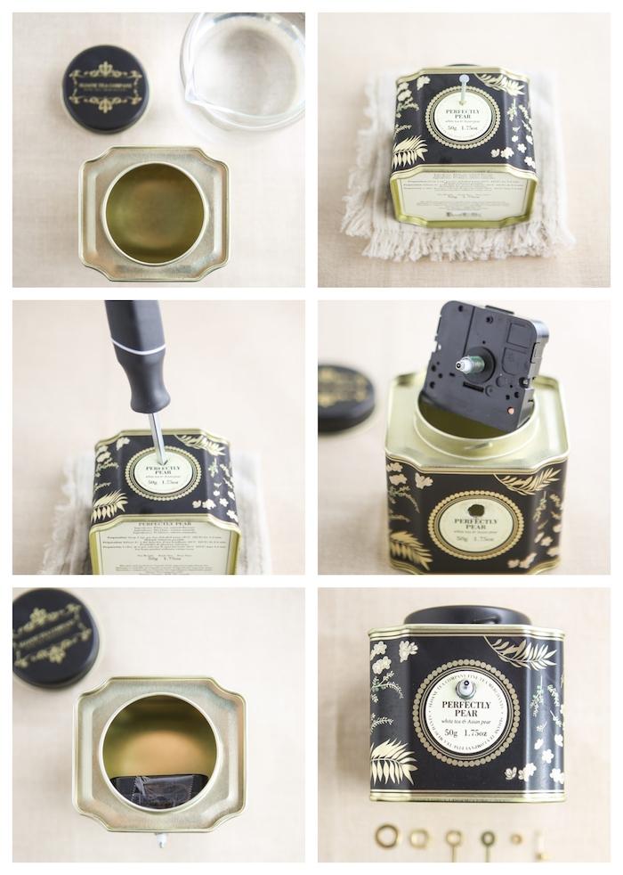 petite horloge diy doté de mécanisme horlogerie à l intérieur d une boîte à thé, idée de cadeau d anniversaire pour sa meilleure amie