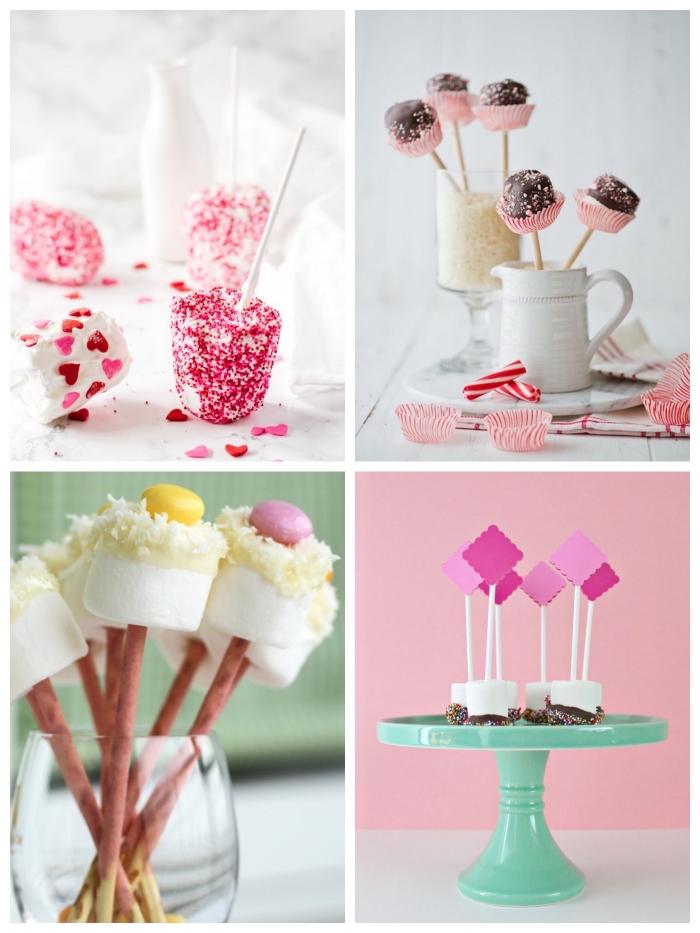idée originale pour un candy bar mariage de cake-pops à la guimauve joliment décorés et faciles à réaliser soi-même