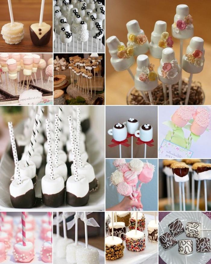 idée candy bar mariage tendance de boules de gâtaeaux à la guimauve, recette cake pops à la guimauve pour votre mariage