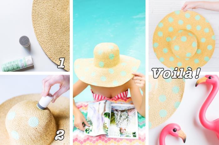 activité manuelle facile et rapide pour l'été, modèle de capeline beige personnalisée avec tampon couleur vert menthe