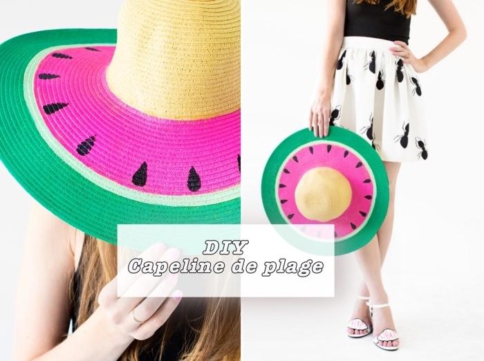 activités manuelles enfants ou adultes, modèle de capeline de plage personnalisée à design pastèque vert et rose