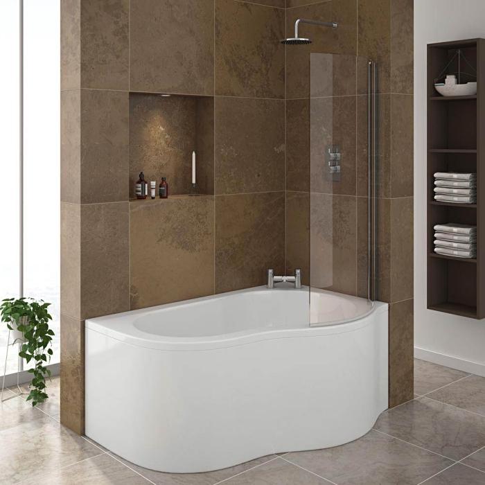 salle de bain douche et baignoire avec mur en carrelage marron et niche pour accessoires, rangement espace limité avec niches murales