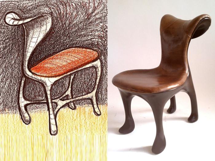comment repeindre un meuble en bois, chaise sans accoudoirs au dossier fortement recourbé en arrière, style extravagant, customiser un meuble