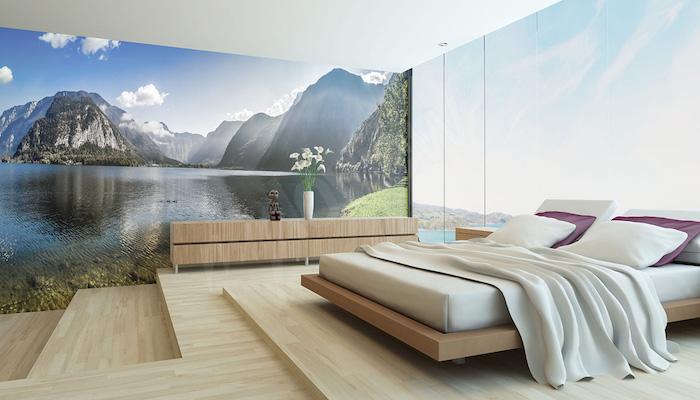 Magnifique vue pittoresque pour le mur de votre chambre à coucher idée déco avec papier peint photo