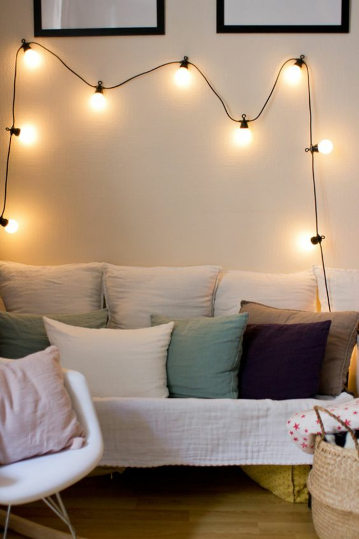 1001 id es pour une guirlande lumineuse pour chambre d co chambre cocoon - Guirlande lumineuse salon ...