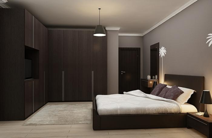 quelles couleurs vont avec le marron, tapis taupe, murs gris, armoire de bois wengé, lit wengé