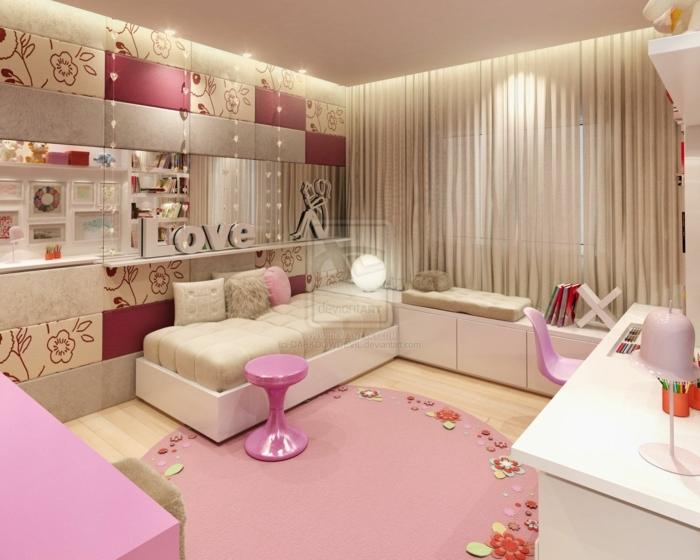 chambre blanche et grise, rose poudree, couleur rose pale, rideaux beiges voilages, grand tapis rond en couleur vieux rose