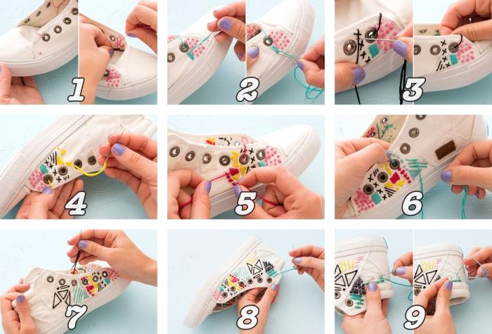tutoriel pour apprendre comment décorer ses baskets blancs, activité manuelle ado facile, décoration baskets broderie couleurs