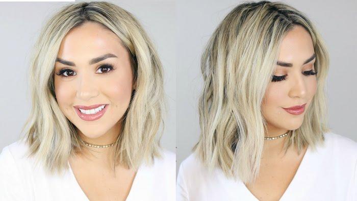 look carré cheveux ondulés coloration blond polaire et racines foncées, maquillage glamour tee shirt blanc
