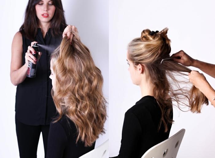 chignon boheme chic avec deux ponytails tordus, cheveux légèrement ondulants