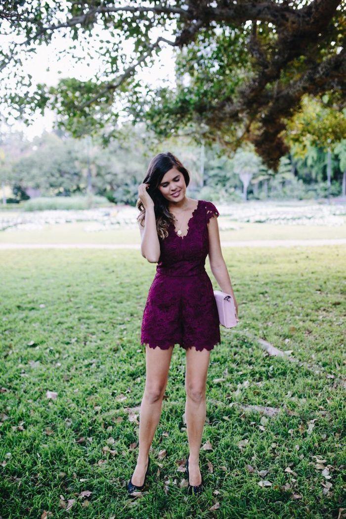 Comment s'habiller bien en combinaison femme mariage, combinaison court chic femme tenue légère été en dentelle