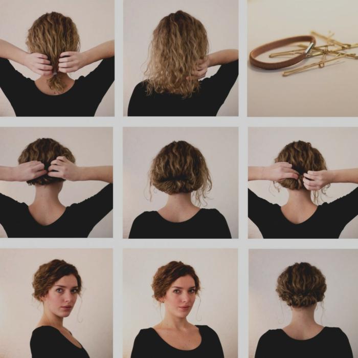 chignon bas flou sur cheveux bouclés, chignon cheveux mi long, tuto coiffure facile