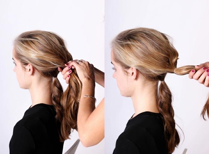 chignon facile en deux sections des cheveux, chignon flou pour cheveux longs