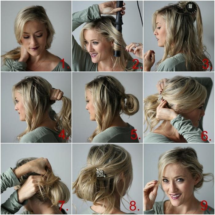créer un chignon facile avec des cheveux longs bouclés avec le lisseur, accessoire blanc