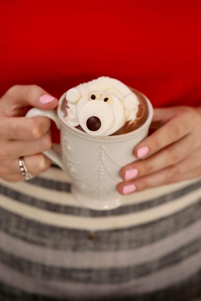 ourson guimauve originale pour à mettre dans sa tasse de chocolat chaud pour le rendre encore plus gourmand
