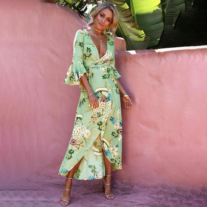 Tenue champetre pour mariage robe champêtre chic bohème tenue pour femme robe vert fleurie longue avec manche