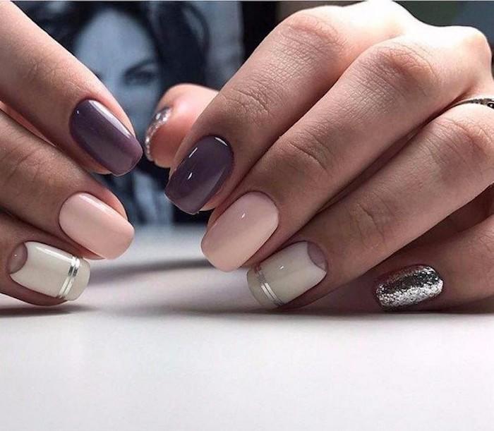 Ongle deco blanc, rose, violet et argent, idée manucure simple et belle, dessin ongle, vernis tendance ete 2018 couleur actuelle, moderne manucure féminine