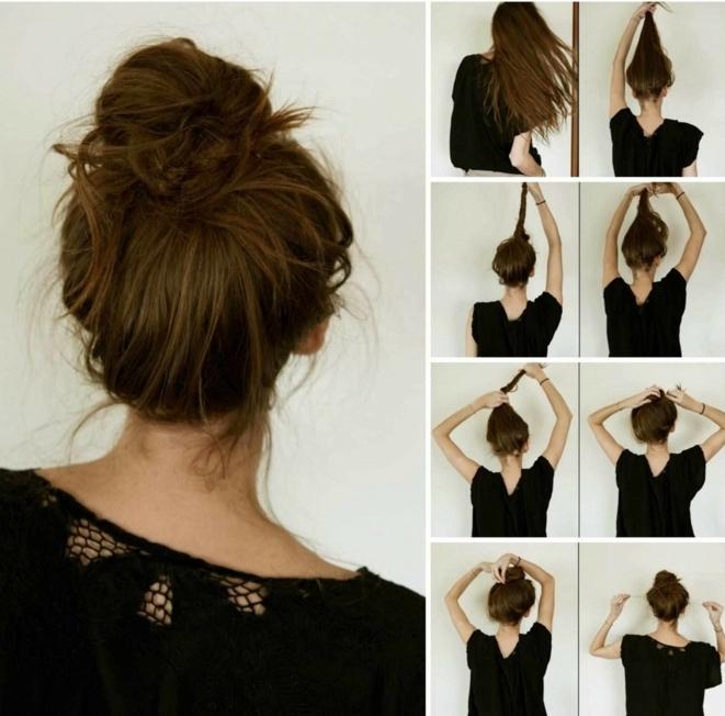 chignon boheme chic, coiffure facile avec chignon de queue de cheval tordue