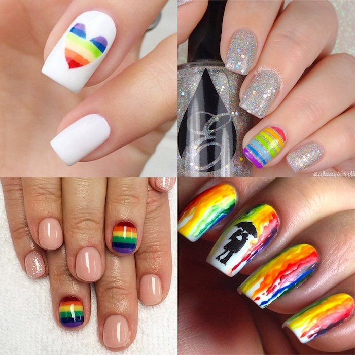 Idee ongle original pour l'été, gay friendly manucure arc en ciel, idée manucure arc en ciel, deco ongle facile, photo d'ongle gel inspiration