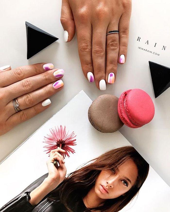 Cool idée manucure, une idee ongle deco aux couleurs pastel, modele ongle gel original, decoration cool idée mode et beauté