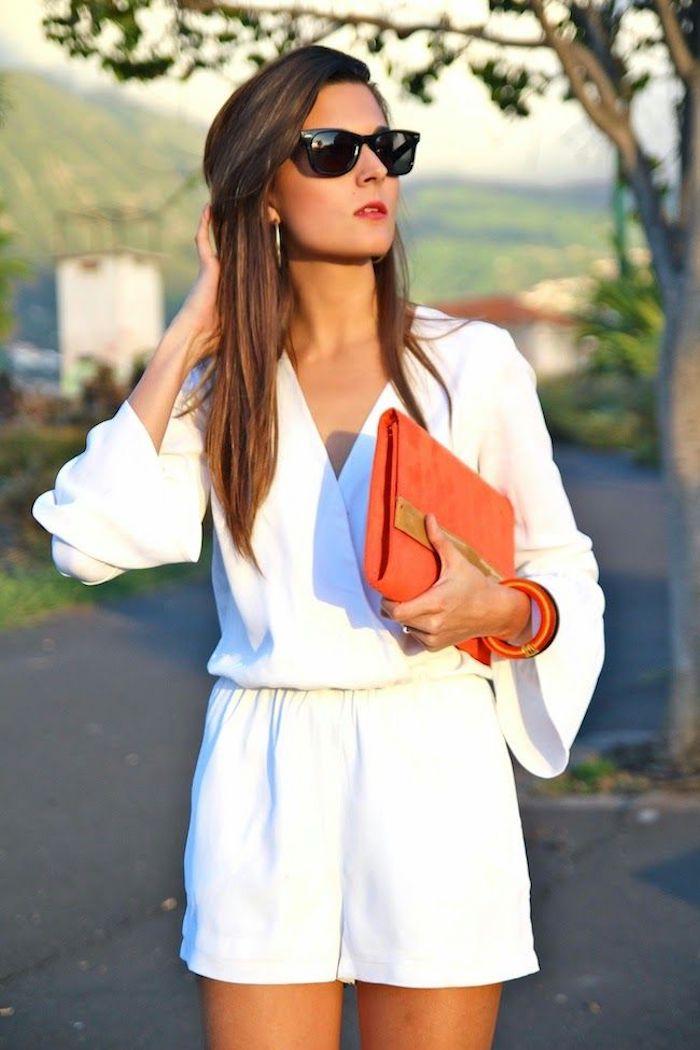Combishort soirée blanche, combinaison chic femme, tenue de soiree combishort avec manche longue, belle tenue en blanc