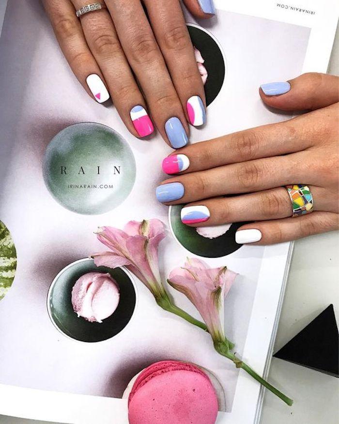 Ongle gel couleur idee, ongle deco géométrique, dessin sur ongle simple, mode vernis en gel, quelle couleur choisir
