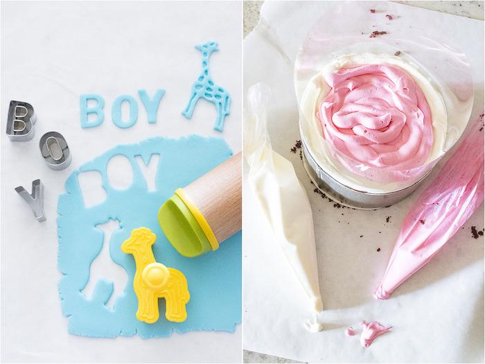 Gateau baby shower gateau naissance fille ou garcon devinette sympathique creme rose moules de biscuit pour couper la pate a sucre simple decoration