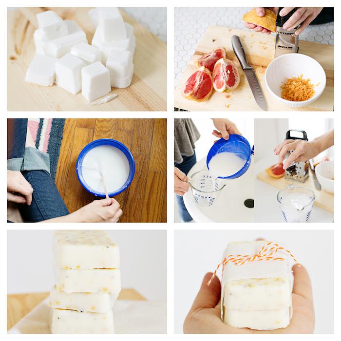 idée pour une fabrication de savon au lait de chèvre avec zeste de pamplemousse et graines de coquelicot