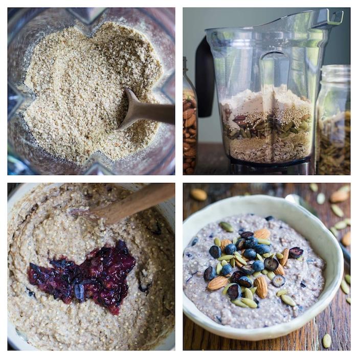 porridge aux flacons d avoines, quinoa, graines et noix avec du lait et des fruits rouges, petit déjeuner régime simple