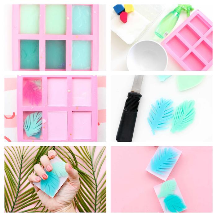 recette savon maison a faire soi meme, base de savon en glycérine simple et décoration de palmes colorées en savon