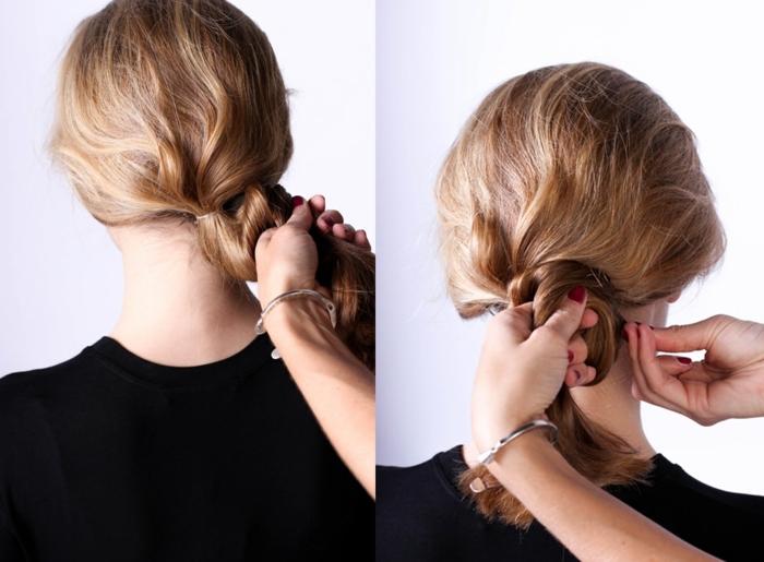 chignon bas flou en deux sections sur cheveux wavy, coiffures pour cheveux longs