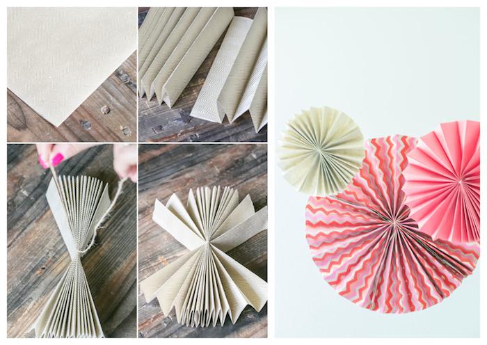 comment faire un éventail en papier comme décoration mur coloré, rosaces moulins à vent à motifs variés