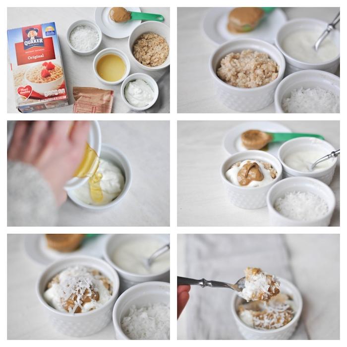 déjeuner du matin en flacons d avoine, noix de coco, beurre de sésame, yaourt grec et miel, repas sain et rapide