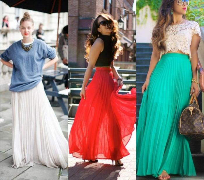 jupes plissées couleurs différentes, comment porter la jupe longue d'été, top fluide avec collier statement