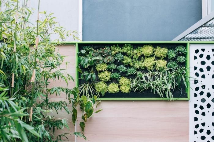 un panneau vegetal qui orne le mur du jardin et invite à la contemplation, comment créer un mini-jardin vertical