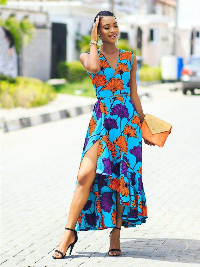 Style champêtre femme robe champêtre mariage chic robe d été stylée belles robes longues robe fleurie dessin style pagne robe longue fendue