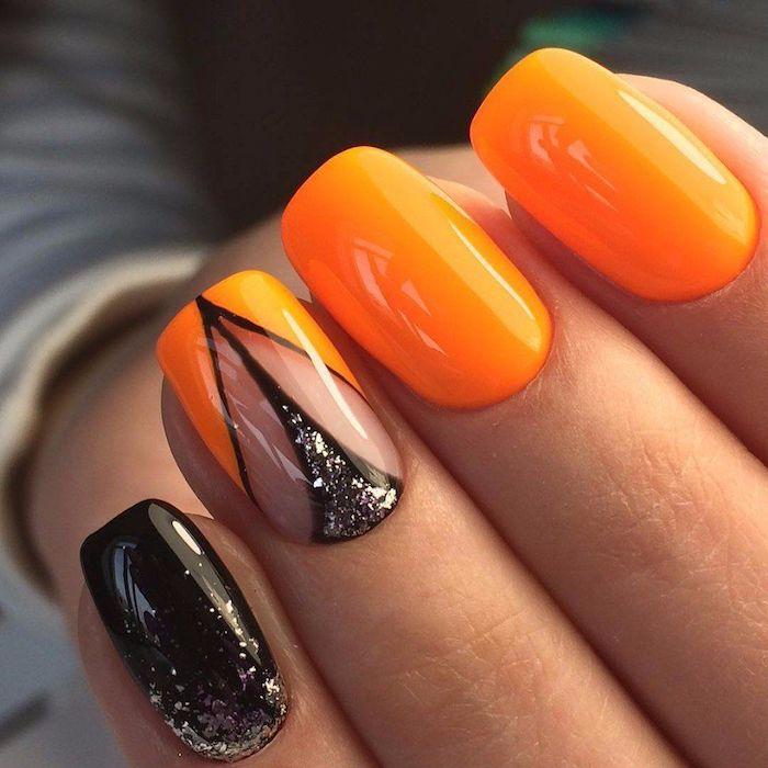 Motif ongle inspiration, quelle couleur choisir, ongle gel couleur, beauté ongles, orange et noir brillant design