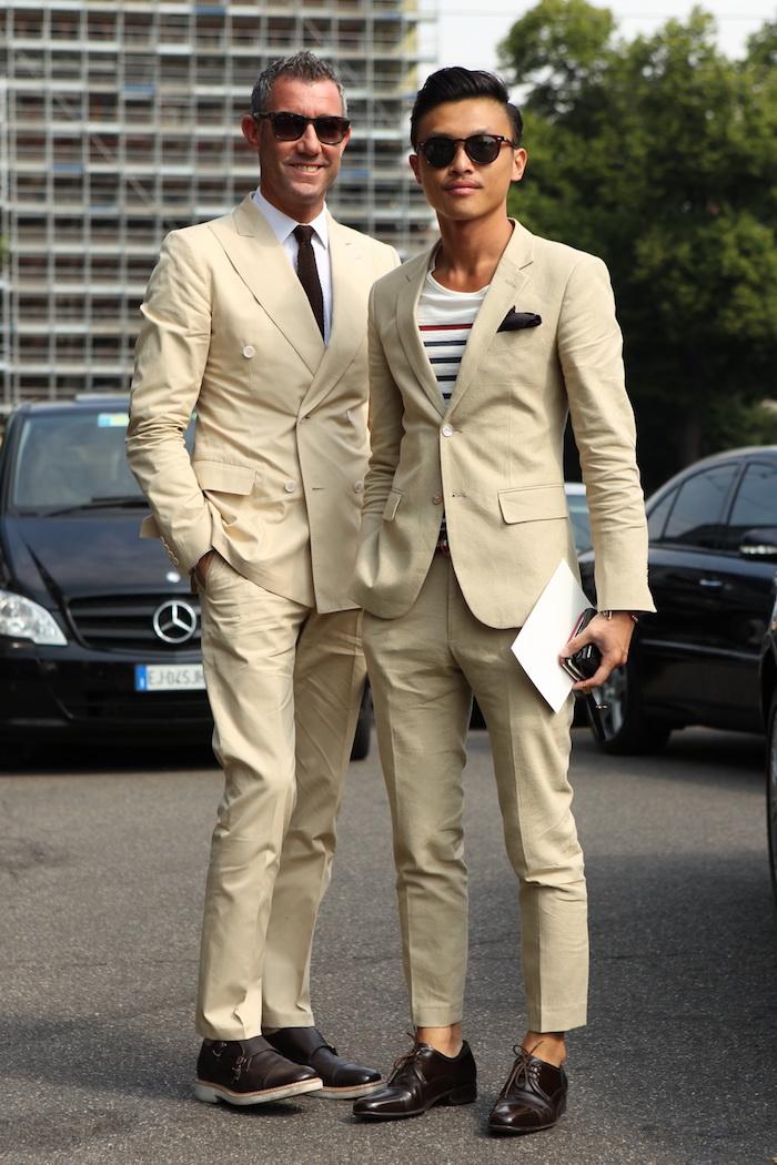tenue mariage homme décontracté chic avec costume coupe slim beige