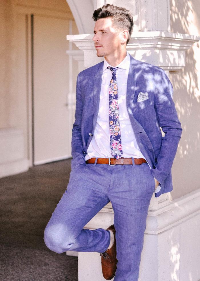 costume mariage homme décontracté coton violet lavande avec cravate fleurie