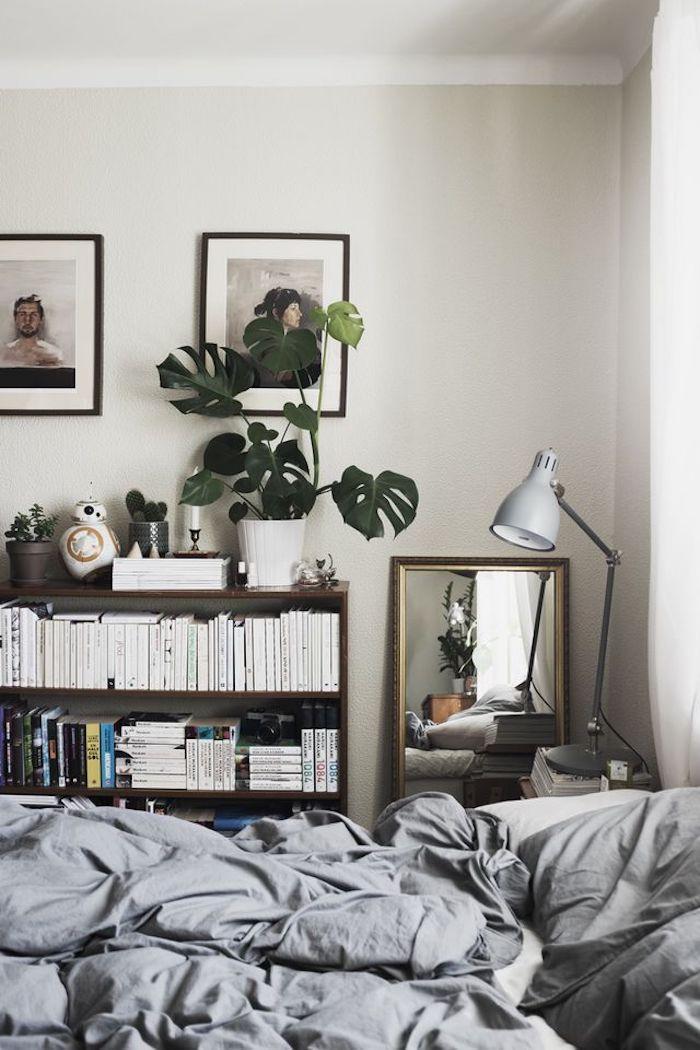 Design d intérieur, aménagement chambre 10m2, deco petite chambre adulte, moderne chambre à coucher, étagère avec livres