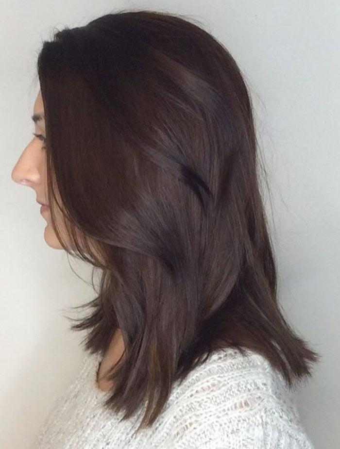 couleur de cheveux glacé brun foncé reflets violets longueur moyenne