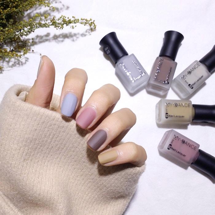 Manucure moderne couleurs mattes, modele d ongle en gel mat simple, couleur ongle original, tendance vernis 2018