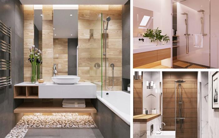 salle de bain italienne photos inspirants à design moderne, intérieur stylé aux murs en carrelage gris et revêtement en bois clair