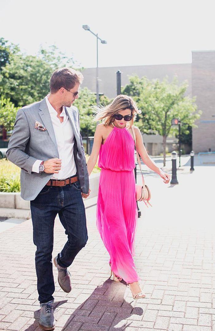 Vetement homme et femme tenue champetre femme mariage champetre chic tenue invitée robe élégante bien accessoirisée robe longue rose